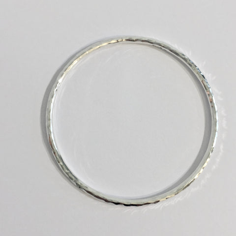 Silver 3mm Wire Hammered Bangle - WB1H