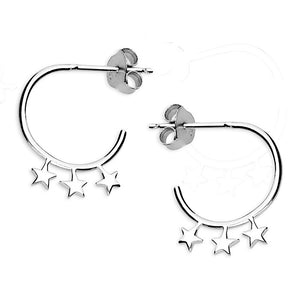 Sterling Silver Triple Star Stud Hoops