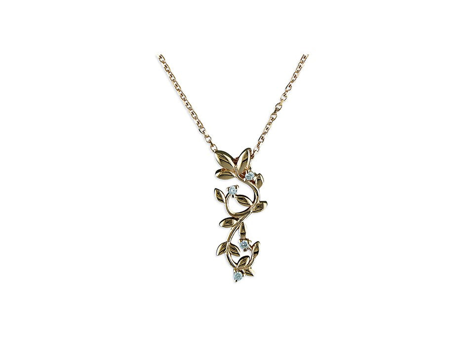 18ct Rose Gold Plated Leaves Necklace