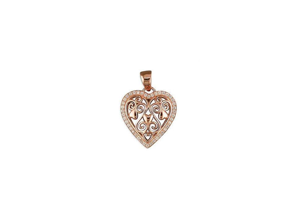 18ct Rose Gold Plated Filigree Heart Necklace