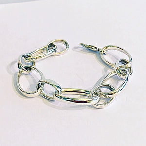 Silver Heavy Oval Links Bracelet - WB30M