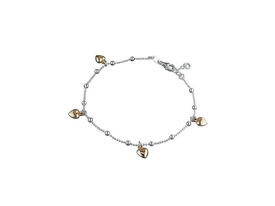 Sterling Silver & 18ct Rose Gold Heart Charm Anklet