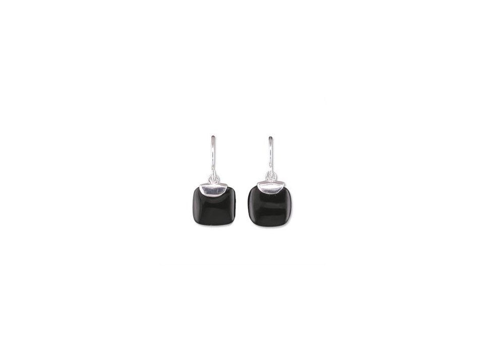 Sterling Silver TV-Shaped Onyx Drop Earrings