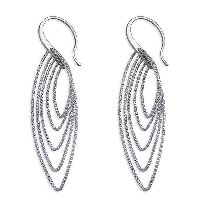 Sterling Silver Multi Pointed Ovals Drops