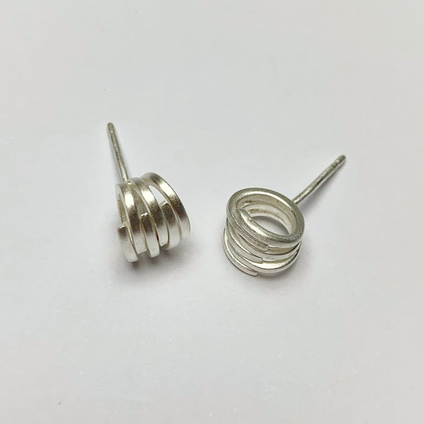 Brushed Silver Rounded Knot Stud Earrings