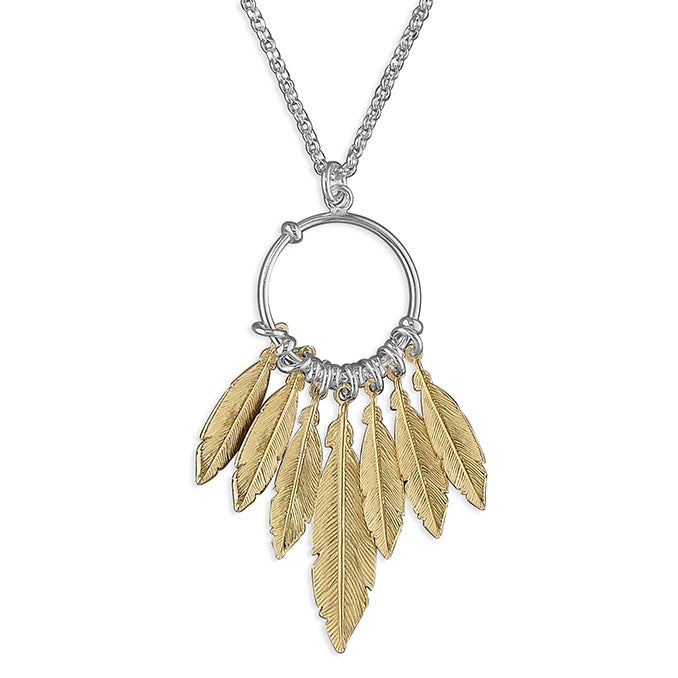 18ct Gold Plated Feather Dreamcatcher Necklace