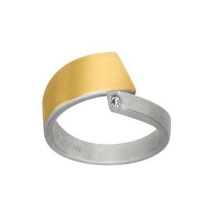 Silver & Gold Wrap Ring with 0.03ct Diamond