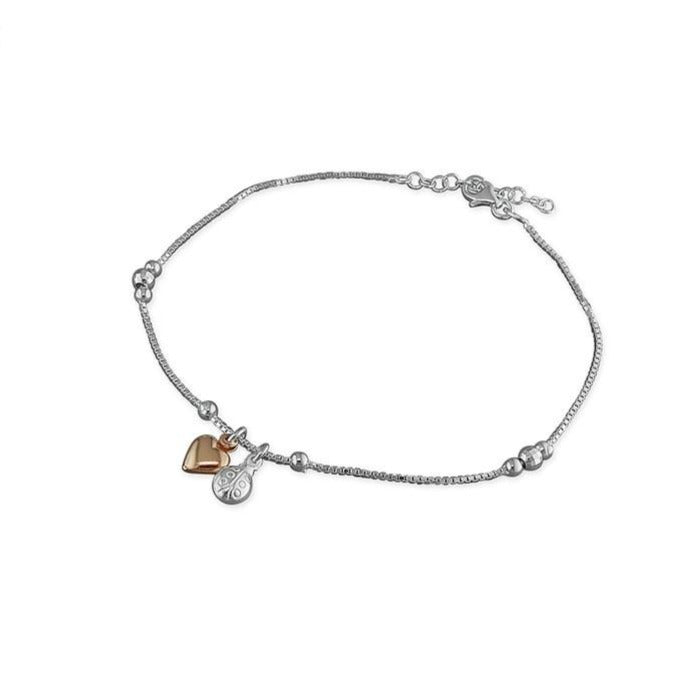 Sterling Silver & 18ct Rose Gold Plated Ladybird & Heart Anklet