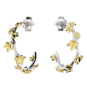 18ct Gold Plated Leaf Detail Silver Hoops