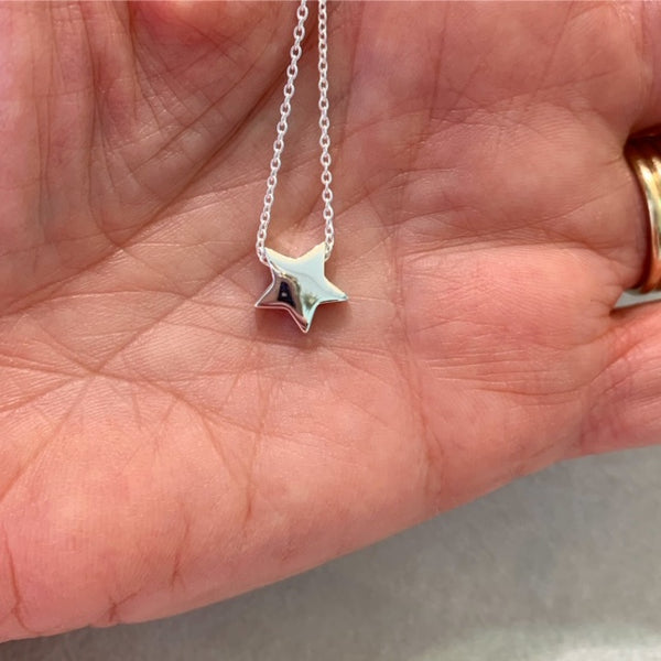 Sterling Silver Sliding Star Bead Necklace