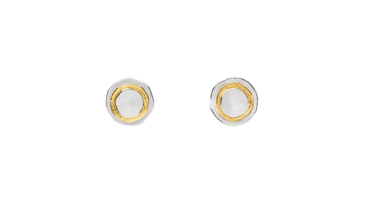 Silver & Gold Layered Stud Earrings