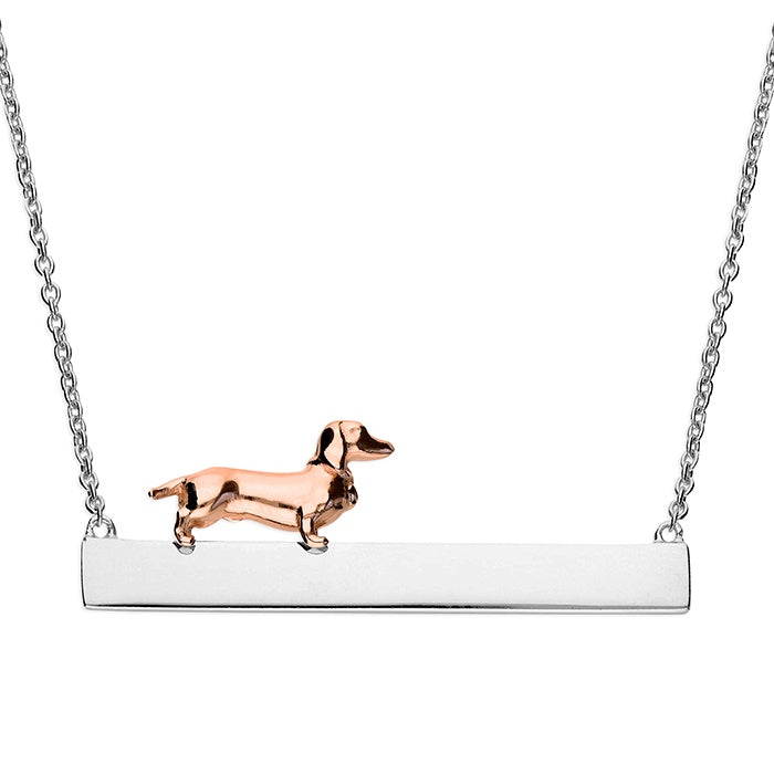Sterling Silver & 18ct Rose Gold Dog on Bar Necklace