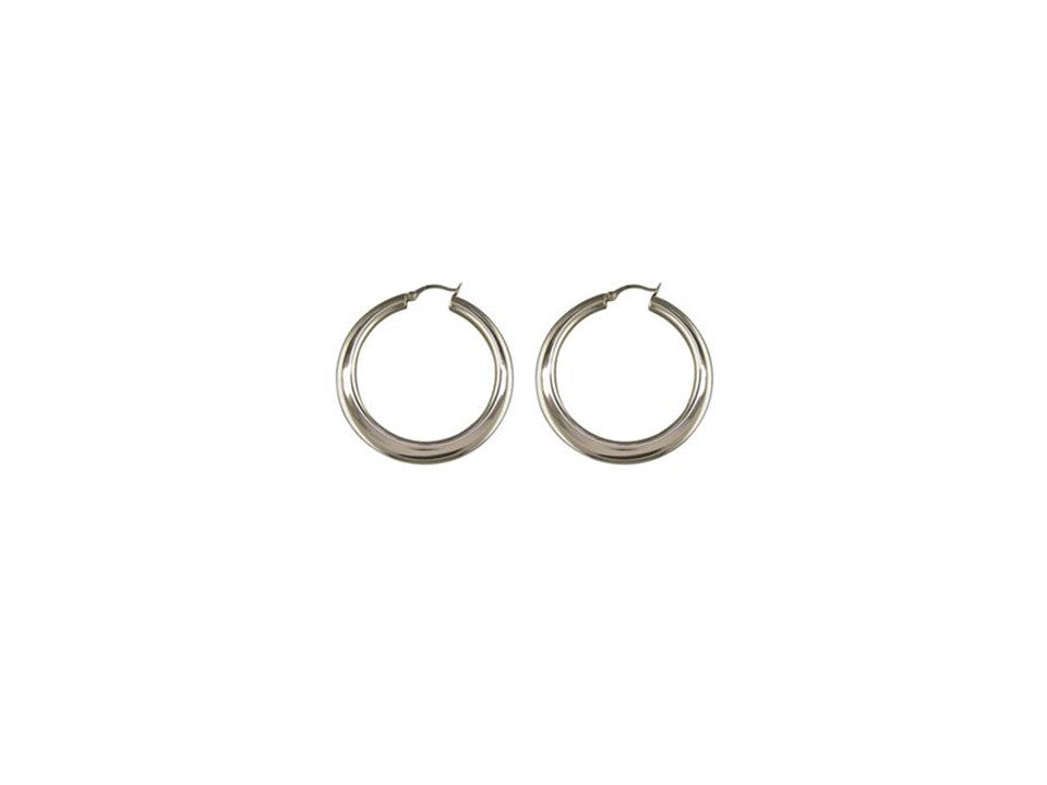 Sterling Silver Large Flattened Circle Creole Earrings