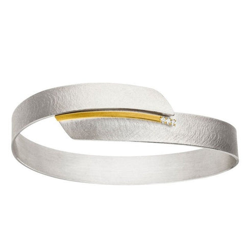 Silver Bangle with 3 diamonds of 0.012cts