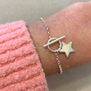 Sterling Silver Star Charm Bracelet with T-bar Fastening