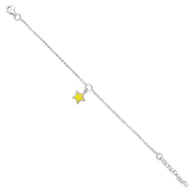 Sterling Silver Pippa Yellow Star Charm Bracelet