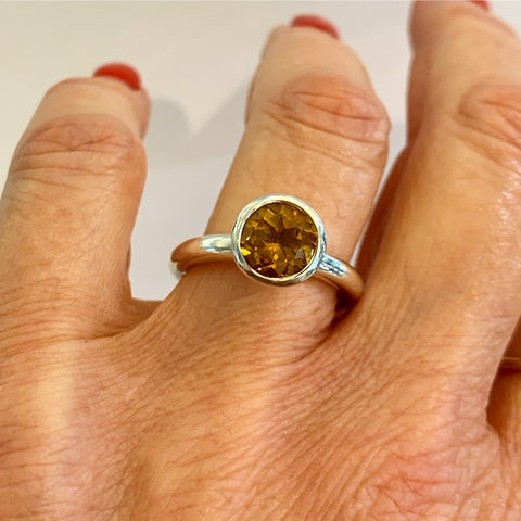 Silver 8mm Citrine Ring