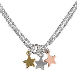 Sterling Silver 3-Tone Triple Stars Necklace
