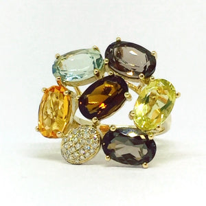 9ct Yellow Gold Multi-stone Petal Ring