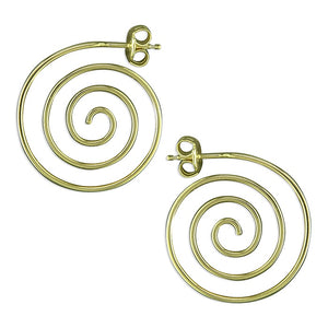 18ct Gold Plated Spiral Stud Hoops