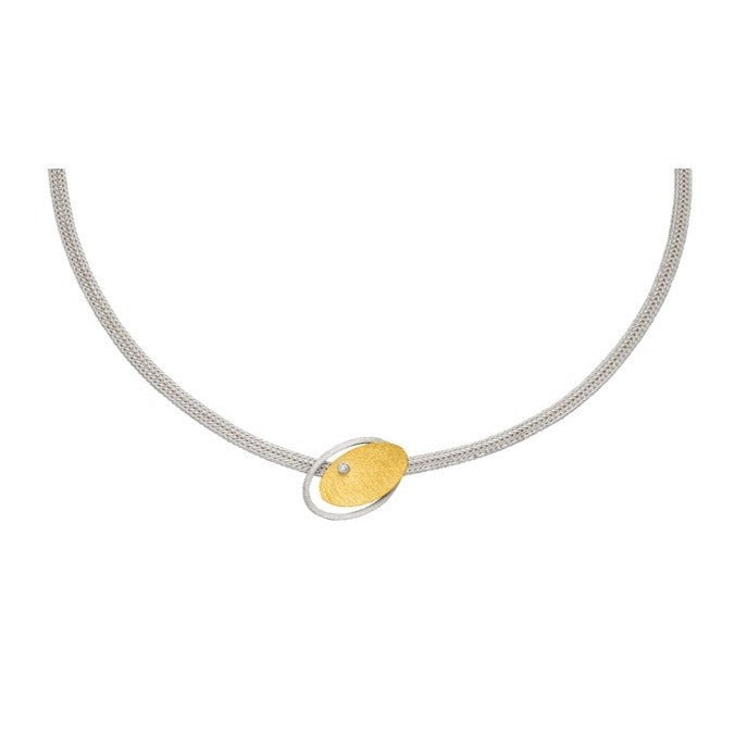 Silver & Gold Necklace with diamond