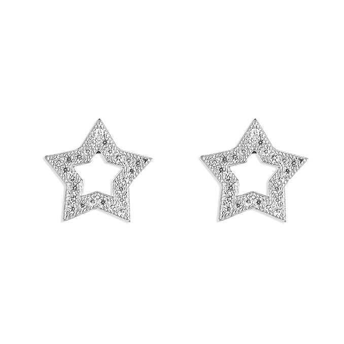 Sterling Silver Twinkling Outline Star Studs