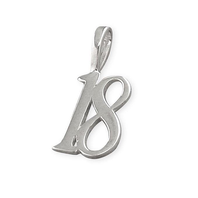 Sterling Silver Number 18 Necklace
