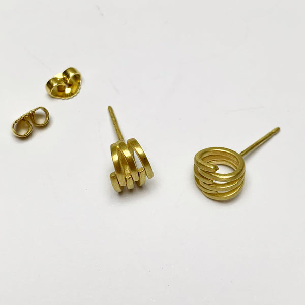 Brushed Gold Rounded Knot Stud Earring
