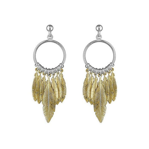18ct Gold Feather Dreamcatcher Earrings
