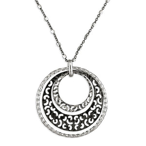 Black and Sterling Silver Hoop Necklace