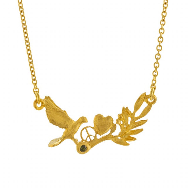 Alex Monroe Gold Dove/Olive Branch Necklace - SLN6-GP