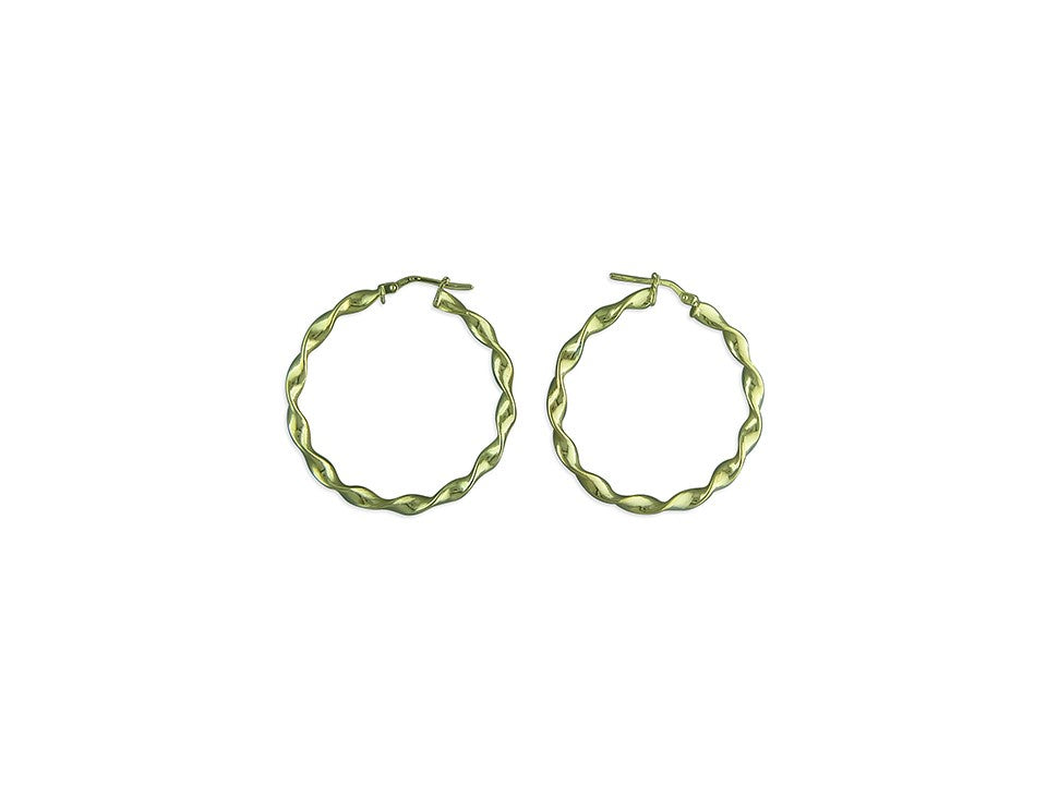 18ct Gold Plated Twisted Hoop Earrings