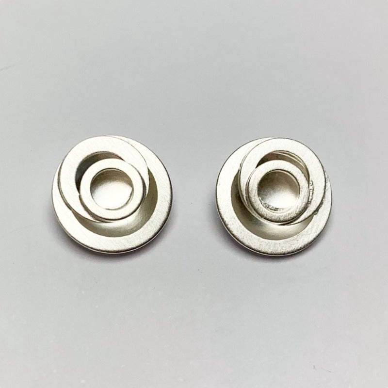 Brushed Silver Mackintosh Rose Ear Studs Earrings