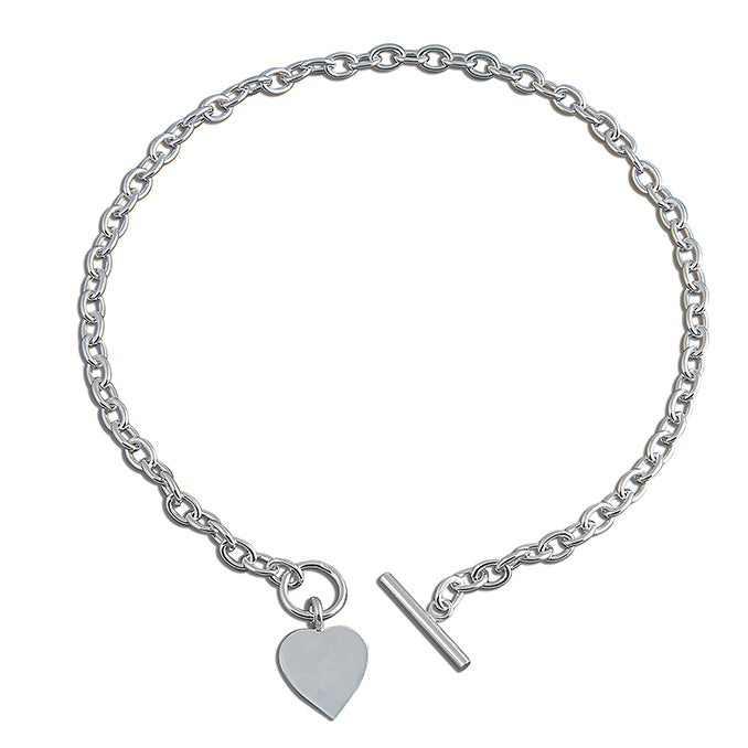 Sterling Silver Chunky Link Heart & T-bar Catch