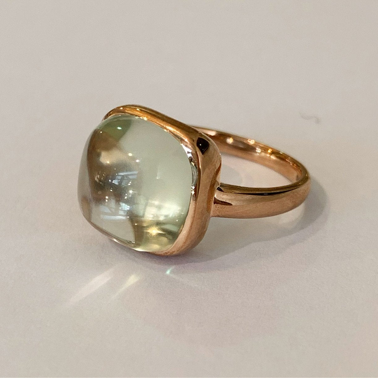 9ct Rose Gold & Green Amethyst Cabochon Ring