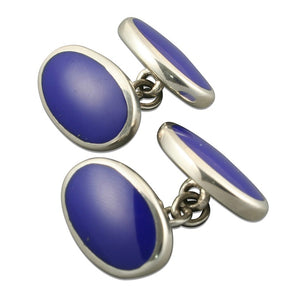 Sterling Silver Cufflinks Double Oval Blue
