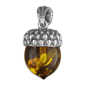 Sterling Silver Small Cognac Amber Acorn Necklace