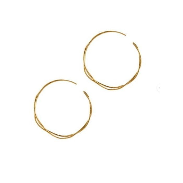 Alex Monroe Gold Fine Twist Hoop Earrings - TGE3