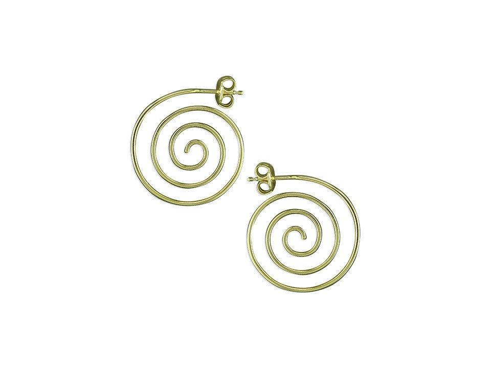 Gold Spiral Stud Hoops
