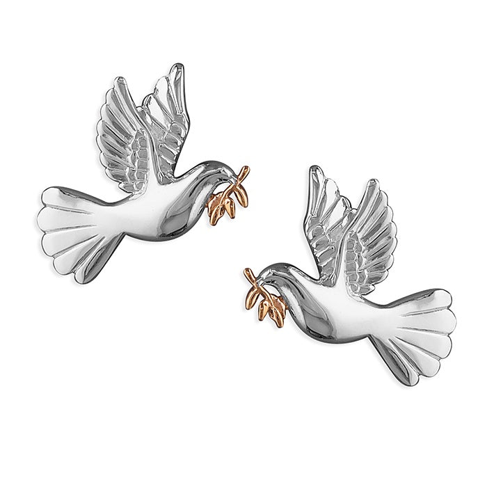 Sterling Silver Dove Of Peace Studs