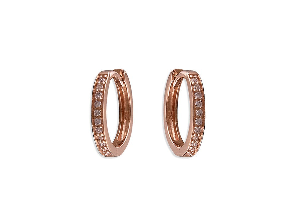 Small 18ct Rose Gold CZ Huggie Hoops