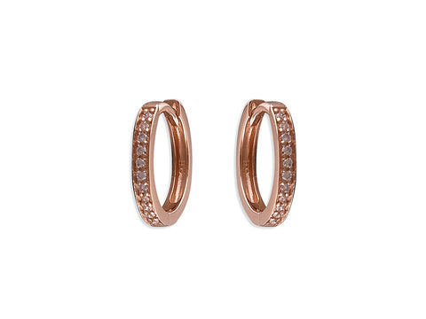 Small Rose Gold CZ Huggie Hoops