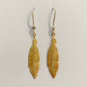 18ct Gold Plated Feather Hook Earrings