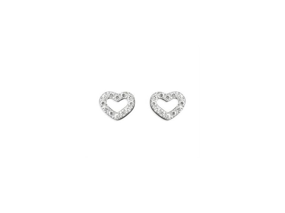 Sterling Silver Outline Heart Studs