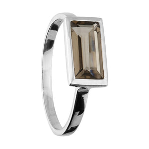 Sterling Silver Smoky Rectangular ring