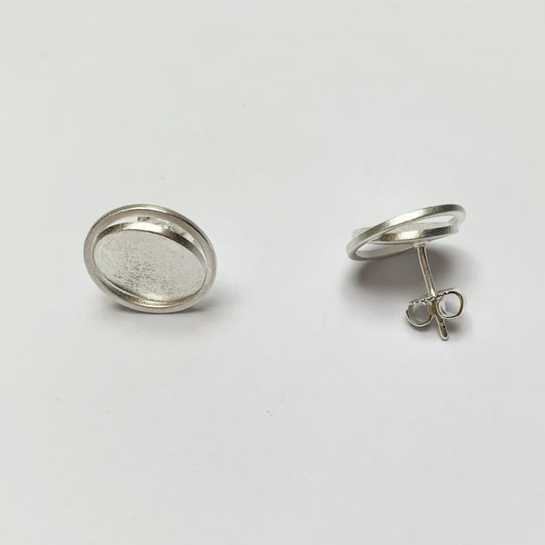 Brushed Silver Disc Stud Earrings