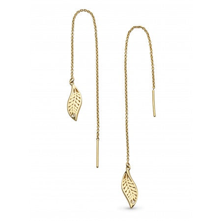 18ct Gold Plated Leaf Chain Earrings