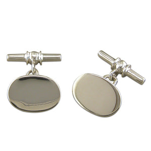 Sterling silver Cufflinks Plain Oval