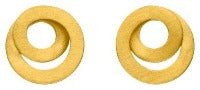 Brushed Gold Swirl Stud Earring