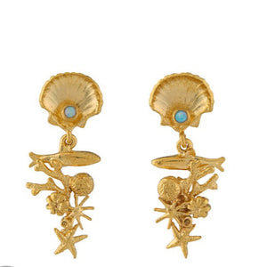 Alex Monroe Gold Coral Reef Opal Drop Earrings - OCE3-GP